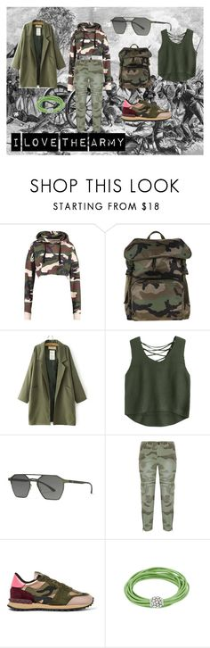 """Army Fashion"" by dessypigglets ❤ liked on Polyvore featuring Valentino, adidas Originals and Current/Elliott"