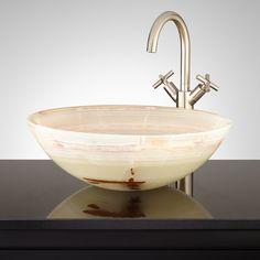Redore+Round+Green+Onyx+Vessel+Sink