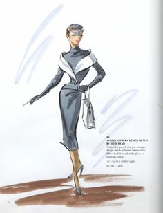Audrey Hepburn costume design sketch by Edith Head