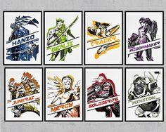 Overwatch: Tracer, Genji, Widowmaker, Hanzo, Mercy, Junkrat, Soldier 76, Winston prints/posters