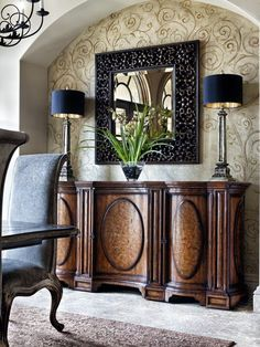 Mediterranean Home Wallpaper Design Ideas, Pictures, Remodel, and Decor - page 2 Foyer Decorating, Tuscan Decorating, Interior Decorating, Interior Design, Deco Retro, Tuscan Design, Tuscan House, Mediterranean Decor, Mediterranean Bathroom
