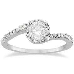 Halo Diamond Twist Engagement Ring Setting 14k White Gold 0.16ct