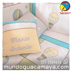 Lencerías personalizadas para bebés. Lencería para cunas y cama cunas. Lenceria globos Bed Pillows, Pillow Cases, Globes, Beds, Interiors, Pillows