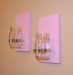 Set of 2 Shabby chic rustic style handcrafted wooden wall sconce for candles, flowers, household storage, etc with mason jar on Etsy, $30.00