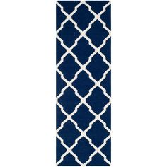 Dhurries Navy/Ivory (Blue/Ivory) 2 ft. 6 in. x 8 ft. Runner Carpet Runner, Rug Runner, Navy Rug, Blue Ivory, Throw Rugs, Beige Area Rugs, Colorful Rugs, Wool Rug, Hand Weaving