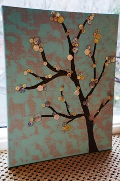 Button Tree Canvas Wall Art, Vintage Buttons Used, You Can Customize Colors.