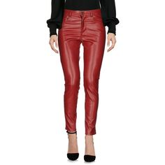 (+) People Casual Trouser (1 420 SEK) ❤ liked on Polyvore featuring pants, maroon, maroon pants, (+) people, red pants, side slit pants and slim fit pants