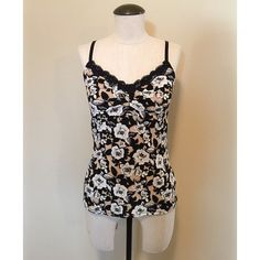 SALE WHBM Lace Trim (Floral) Camisole sz S White House Black Market Lace Trim (Tan & Black Floral) Camisole sz S▪️It is pre-owned but only worn a couple times. It's great underneath cardigans or a blazer.                                                NO TRADES NO PAYPAL White House Black Market Tops Camisoles
