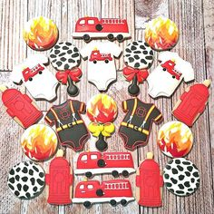 Firefighter Themed Baby Shower Cookies. Complete With Fire Hydrant Baby  Bottle! #firefightercookies #
