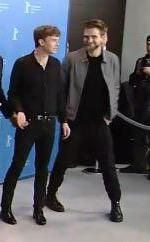 Dane DeHaan and Rob at Berlin Film Festival photo call (Berlinale) for Life, 2-8-15 (7)  ADORABLE  There's our wonky-legged man!