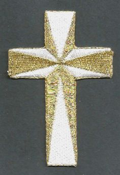 Cross - Christian - Embroidered White & Metallic Gold Iron On Applique Patch | Crafts, Sewing, Embellishments & Finishes | eBay!