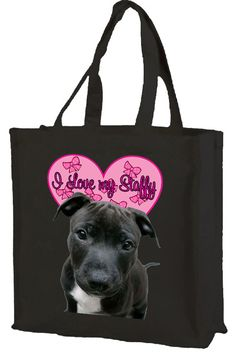 I Love Staffys Staffordshire Bull Terrier Cotton by TuxcatDesigns