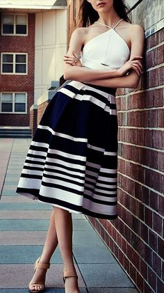White crop top and high waist striped skirt