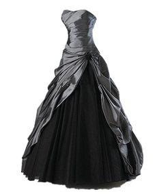 Zorabridal Gothic Vintage Strapless Pleated Taffeta A-line Black Wedding Gown