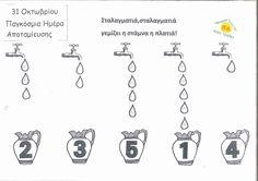 """31 Οκτωβρίου 2016 Παγκόσμια Ημέρα Αποταμίευσης Φύλλο εργασίας :Παροιμία :""""Σταλαγματιά , σταλαγματιά γεμίζει η στάμνα η πλατιά"""" Maths"""