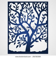 Abstract frame with tree. May be used for lasercutting. Lazercut tree vector invitation template. Lazer cut vector. Family tree card. Laser cut tree silhouette in frame. Wedding invitation template.