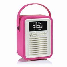 Retro Mini DAB+ Radio & Bluetooth Speaker Pink