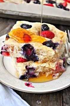 Vegan Triple Berry Sheet Pan Pancakes - Rabbit and Wolves