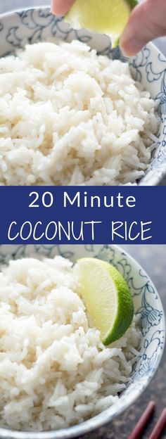 20 Minute Coconut Rice Only 5 ingredients and is ready in just over 20 minutes Pair it with stir fry chicken or salmon for a quick weeknight dinner Side Dish Recipes, Asian Recipes, New Recipes, Vegetarian Recipes, Dinner Recipes, Cooking Recipes, Favorite Recipes, Healthy Recipes, Recipies