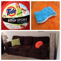 Cleaning my microfiber couch: I used two tablespoons of Tide Sport with febreze in a large bowl of warm water. With a two sided damp dish sponge, I wiped the microfiber. On any stains use the rough side of the sponge and lightly scrub. To finish wipe the fibers to the same direction and let dry. The couch looks and smells great!