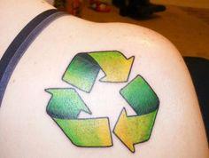 Reduce. Reuse. Recycle #InkedMagazine #symbol #reduce #reuse #recycle #EarthDay #tattoo #tattoos #inked
