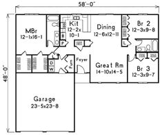 Ranch Style House Plan - 3 Beds 2 Baths 1504 Sq/Ft Plan #57-231 Floor Plan - Main Floor Plan - Houseplans.com