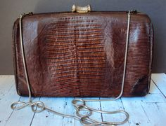 Small Vintage Alligator Skin Leather Purse Boho by thedepo on Etsy