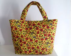 Women's Handbag, Tote Bag, Handmade Bag, Contains Pocket & Magnetic Button Closure, Bright Floral Yellow Bag, Summer Bag, Bag for Summer by RachelMadeBoutique on Etsy https://www.etsy.com/au/listing/469364207/womens-handbag-tote-bag-handmade-bag