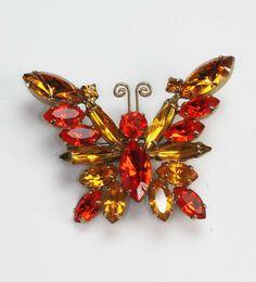Orange and Topaz Rhinestone Butterfly Brooch by PastSplendors