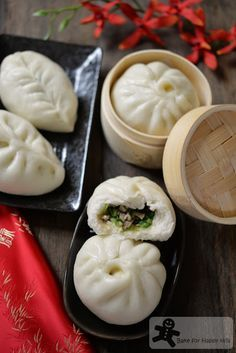 Vegetarian Chinese Steamed Buns with Bok Choy and Mushrooms 蔬菜包 – Vegan too! Vegetarian Chinese Steamed Buns with Bok Choy and Mushrooms 蔬菜包 – Vegan too! Wan Tan, Vegetarian Recipes, Cooking Recipes, Vegetarian Steamed Buns Recipe, Bacon Recipes, Asian Cooking, Mets, Appetizer Recipes, Food To Make