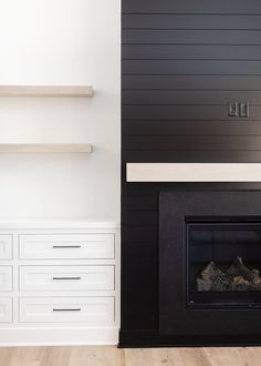 Build A Fireplace, Fireplace Built Ins, Shiplap Fireplace, Black Fireplace, Bedroom Fireplace, Fireplace Remodel, Modern Fireplace, Fireplace Design, Home Upgrades