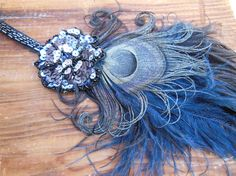 Flapper Headband, Great Gatsby , Feather Fascinator, Blue, Black Purple, Real Vintage Elements, Batcakes Couture