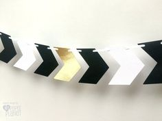 Chevron Arrows banner  black white and gold. Tribal, boho, wild one party.  by MyPaperPlanet