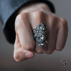 Oxidized Silver, Sterling Silver, Cold Fingers, Dragon Ring, I Quit My Job, Lion Ring, Ganesha, Game Design, Rings For Men