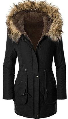 Sugar Pocket Women's Winter Parkas Jackets Faux Fur Lined Hooded Coats Black L - United Kingdom Shopping Website Faux Fur Hooded Coat, Faux Fur Jacket, Fur Coat, Hooded Coats, Style Noir, Shopping Websites, Keep Warm, Coats For Women, Hoods
