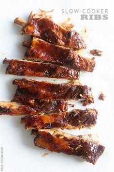 Slow-Cooker Ribs from Real Food by Dad ~ Slow-Cooker Ribs ~ Grab the secret to finishing these easy-to-make ribs with a crisp caramelized exterior.