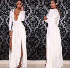 Deep V-neck Split Long Sleeve Long Evening Dress