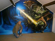 GOMAD Graffiti Muurschildering: master Yoda : Wall painting mural 'Yoda' Star Wars