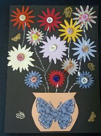 Craft and Activities for All Ages!: Butterflies and Flowers Collage in a Vase!