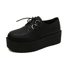 Oasap Women's Vintage Black Round Toe Lace Up PU Platform Sneaker