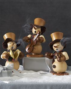 Wearing plaid scarves and cloth earmuffs, these German Snowman Smoker figurines lend a wistful charm to your holiday décor. Christmas Wood Crafts, Indoor Christmas Decorations, Christmas Ornaments, Wooden Ornaments, Germany For Kids, Handmade Wooden Toys, Holiday Essentials, Operation Christmas, Wooden Decor