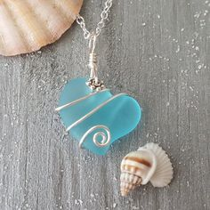 "Handmade in Hawaii, Wire wrapped ""Heart of the Sea"" Blue sea glass necklace, 925 sterling silver chain,gift box,Beach jewelry gift - Ocean Jewelry Design - schmuck jewelry Wire Wrapped Jewelry, Wire Jewelry, Body Jewelry, Jewelry Crafts, Jewelery, Feet Jewelry, Gold Jewellery, Silver Jewelry, Silver Necklaces"