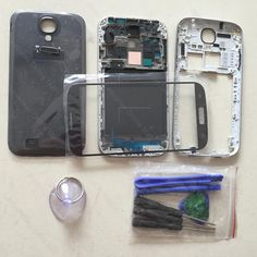Original For Samsung Galaxy S4 i9500 GT-i9500 Full Housing Cover & Middle Frame & Battery Door Case & Screen Glass Replacement