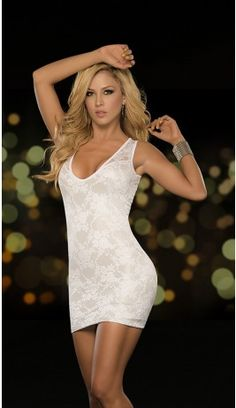 Lovely Lace Low Cut Tank Mini Dress - Whitehttp://devilswink.com/espiral-4268-white-lovely-lace-tank-mini-dress.html