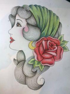 67380622c Gypsy Head With Red Rose Tattoo Sketch | Tattoobite.com Rose Tattoos, Thigh  Tattoos