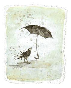 """""""Strange Umbrella"""" by Leontine Greenberg {watercolor, gouache, pencil}"""