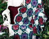 Instant Download PDF Vintage Knitting Pattern to make Arabesque Afghan Blanket Throw Afghan Blanket Picnic Rug