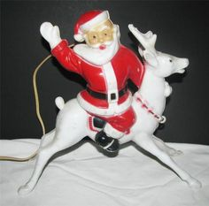 Vintage 1950's Plastic Light Up Santa Waving on Reindeer Christmas Decoration | eBay