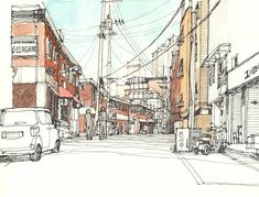 Finding A Career In Architecture - Drawing On Demand Travel Sketchbook, Sketchbook Drawings, Ink Drawings, Sketches, Watercolor Architecture, Watercolor Landscape, Watercolor Art, City Drawing, Still Life Drawing
