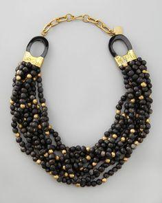 Mpira Dogo Multi-Strand Necklace, Dark Horn by Ashley Pittman at Bergdorf Goodman.